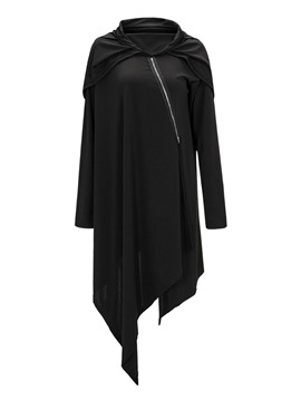 Ericdress Loose Plain Asymmetric Irregular Hem Hoodie