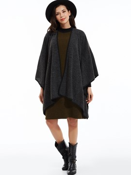 Loose Plain Batwing Sleeves Coat
