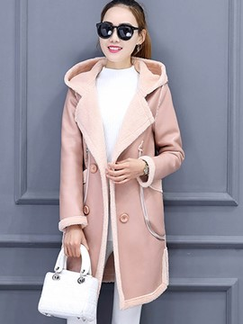 Ericdress Loose Solid Color Fleece Casual Coat