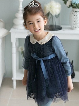 Ericdress Lace Doll Collar Bow Princess Girls Dress
