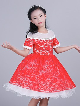 Ericdress Lace Short Sleeve Girls Princess Dress