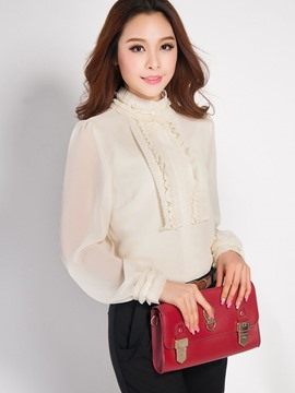 Ericdress Solid Color Chiffon Long Sleeve Blouse