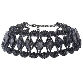 Ericdress Black Rhinestone Design Choker Necklace