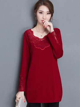 Ericdress Lace Panel Solid Color Plain T-Shirt