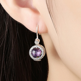 Ericdress Round Crystal Inlaid 925 Sterling Silver Earrings