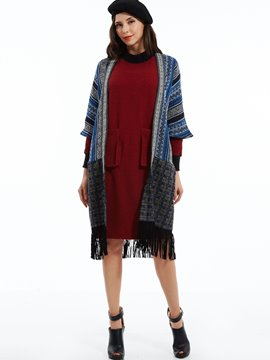Geometric Pattern Tassel Cardigan Coat