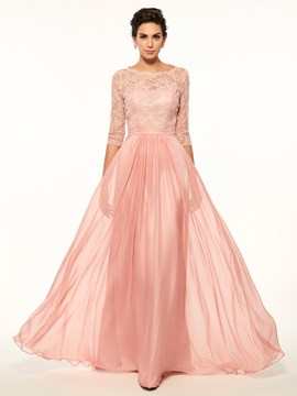 Ericdress High Quality Scoop Lace Half Sleeves A Line Long Mother Of The Bride Dress