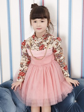 Ericdress Floral Patchwork Long Sleeve Girls Tutu Dress