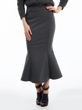 Ericdress Plain Mid-Calf Mermaid Skirt