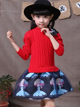Ericdress Sweater Patchwork Printed Bow Girls Dress