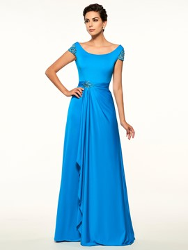 Ericdress Charming Scoop Cap Sleeves Backless A Line Long Mother Of The Bride Dress