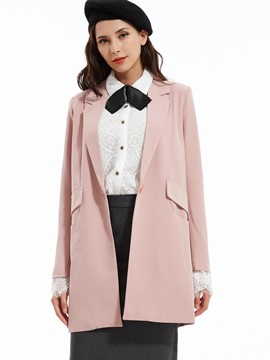Plain Notched Lapel One Button Blazer