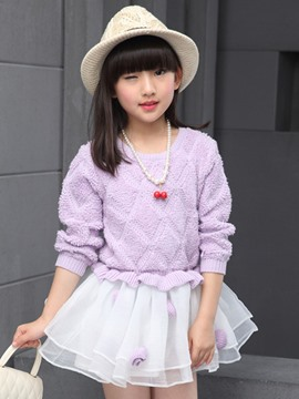 Ericdress Color Block Sweater Mesh Patchwork Girls Dress