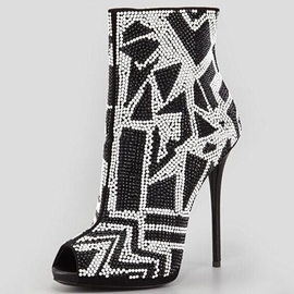 Ericdress Beads Peep Toe Ultra-High Heel Boots
