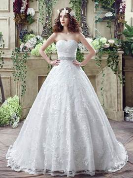 Ericdress Sweetheart Beaded Ball Gown Wedding Dress