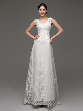 Ericdress Claasic V Neck Appliques A Line Wedding Dress