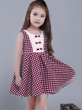 Ericdress Plaid Bow Sleeveless Girls Tutu Dress