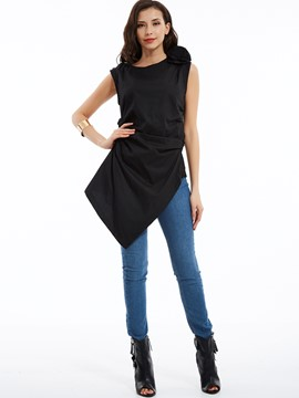 Plain Round Neck Asymmetrical Day Dress