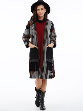 Ericdress Geometric Pattern Tassel Cardigan Coat