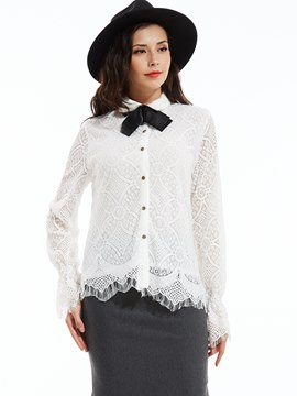 Ericdress Slim Lapel Single-Breasted Lace Blouse