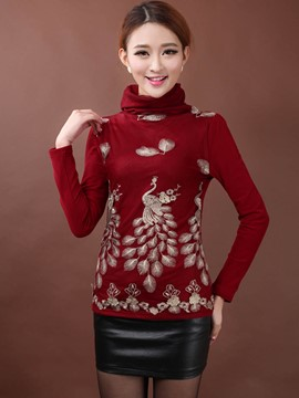 Ericdress Turtle Neck Embroidery T-Shirt