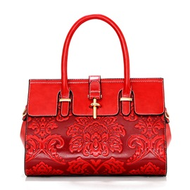 Ericdress Vintage Ethnic Floral Embossed Commute Handbag