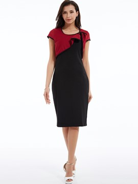 Ericdress Egelant Hemming Pleated Color Block Sheath Dress
