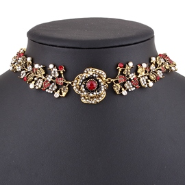 Ericdress Rhinestone Rose Imitation Pearl Choker Necklace