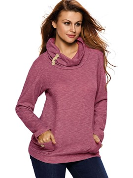 Ericdress Loose Solid Color Turtleneck Casual Hoodie