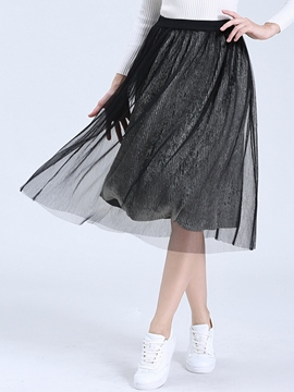 Ericdress Pleated Mesh High-Waist Skirt