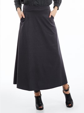 Plain Mid-Calf A-Line Skirt