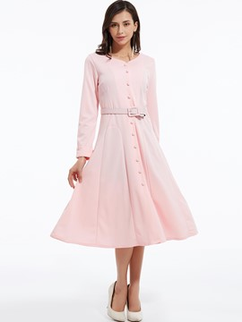 Ericdress Single-Breasted Belt A-Line Long Sleeve Maxi Dress