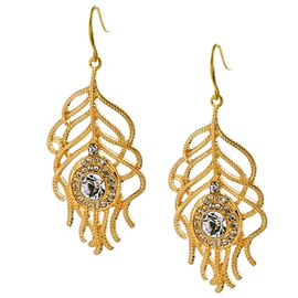 Ericdress Golden Feather Rhinestone Inlaid Earrings