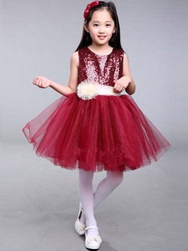 Ericdress Sequins Sleeveless Ball Gown Girls Princess Dress