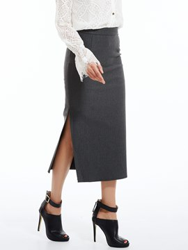 Ericdress Plain Mid-Calf Bodycon Skirt
