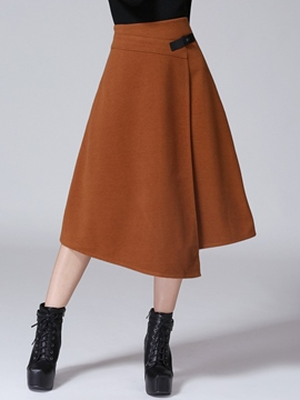 Ericdress Solid Color Asymmetric Mid-Calf Skirt
