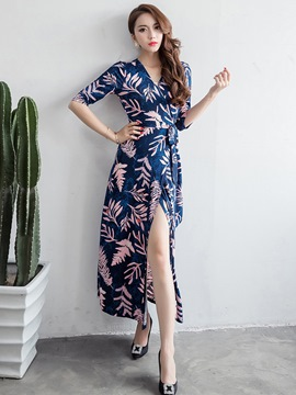Ericdress Sexy Plant Print Cross Belt Split Maxi Dress