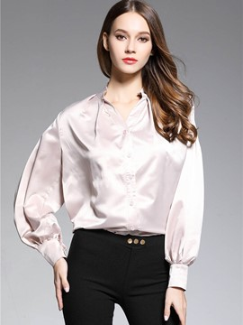 Ericddress Puff Sleeve Lustre Blouse