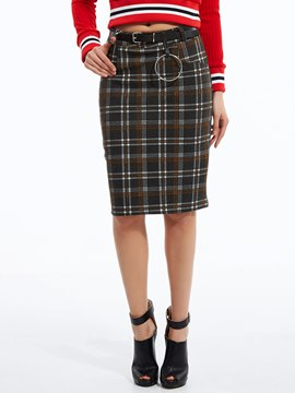 Ericdress Color Block Plaid Knee-Length Skirt