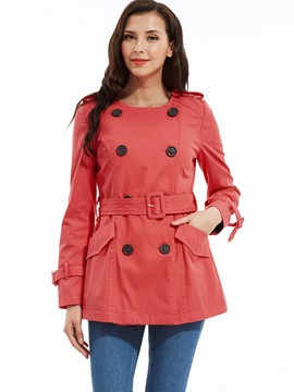 Ericdress Round Neck Double-Breasted Slim Trench Coat