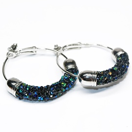 Ericdress Sparkling Rhinestone Inlaid Hoop Earrings