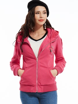 Ericdress Plain Slim Kangaroo Pocket Cardigan Hoodie