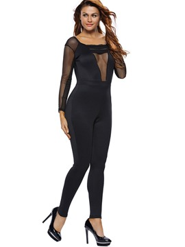 Ericdress Asymmetric Mesh Hollow See-Through Backless Skinny Jumpsuits Pants