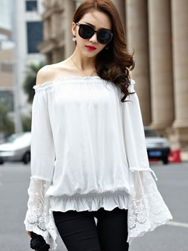 Ericdress White Slash Neck Plueated Blouse