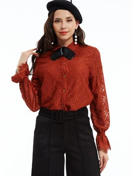 Slim Lapel Single-Breasted Lace Shirt