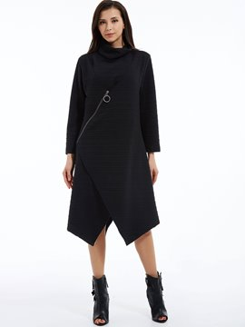 Plain Turtleneck Asymmetrical Day Dress