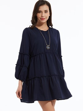 Plain Lantern Sleeves Layered Dress