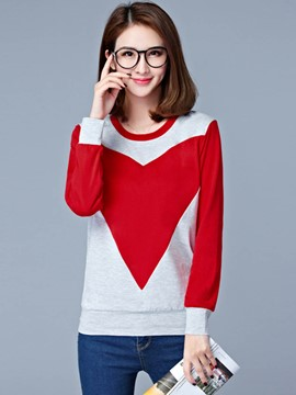 Ericdress Color Block Womens T-Shirt