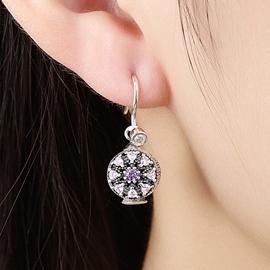Ericdress 925 Silver Pink Rhinestone Inlaid Flower Earrings