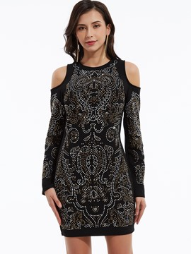 Ericdress Cold Shoulder Diamonds Decorative Bodycon Dress
